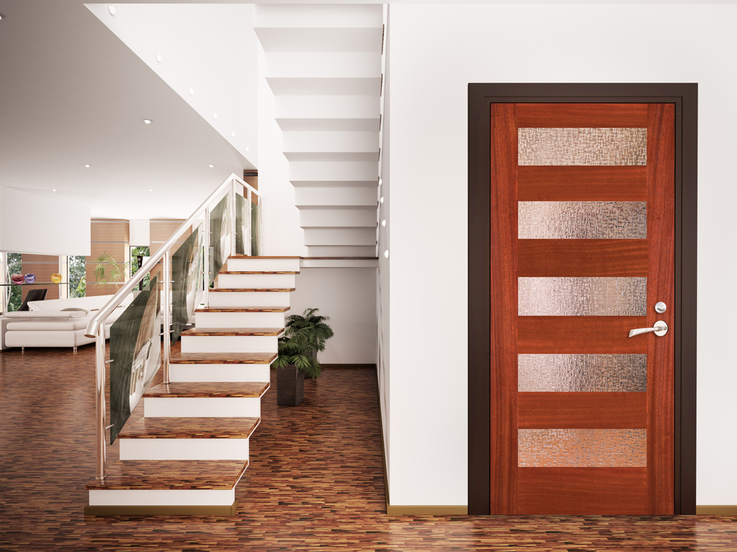 Room With Sapele Mahogany Contemporary Interior Door