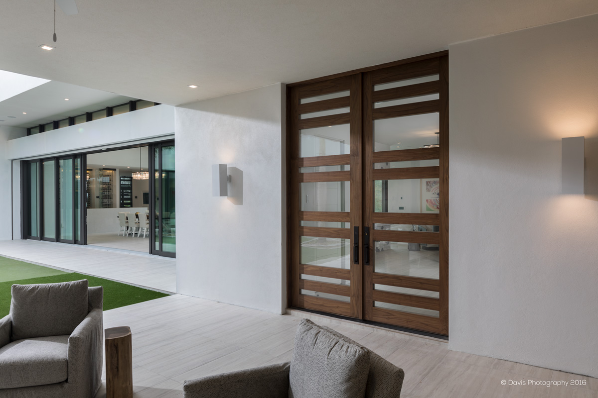 Patio With Custom Modern Walnut Doors