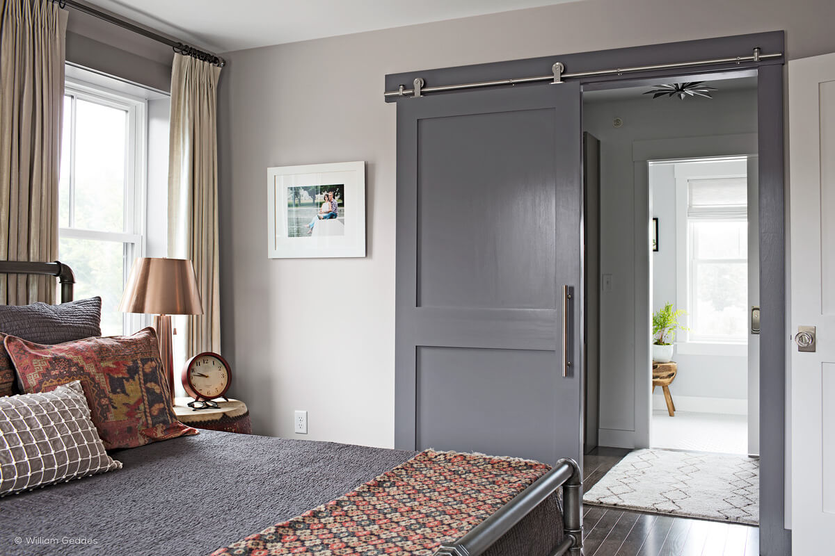 ... Bedroom with interior barn door ... : barn door designs - pezcame.com
