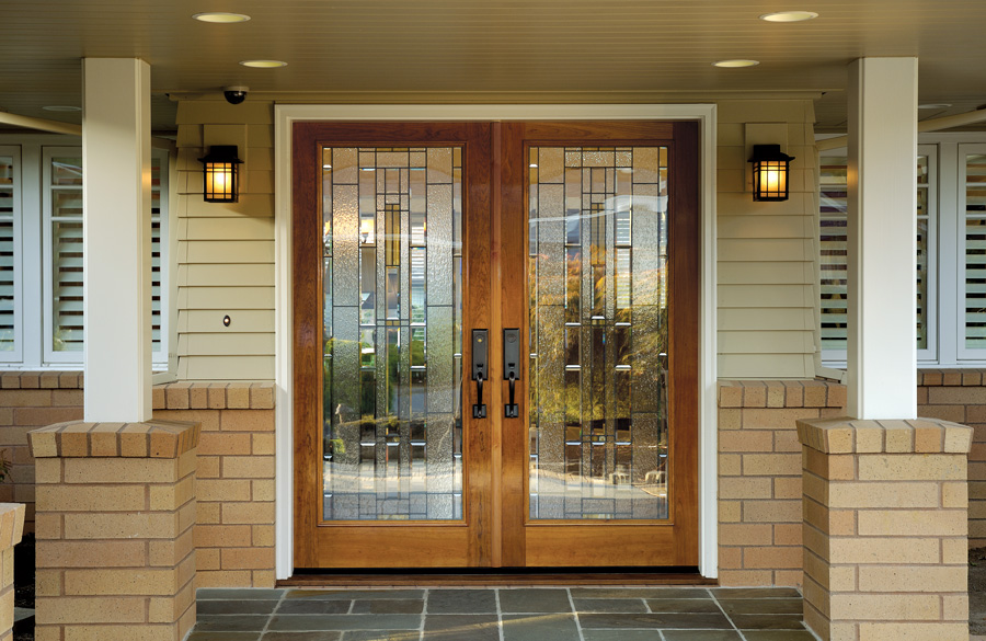 Entryway With Fir Double Front Doors Gl