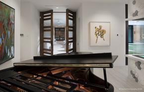 ... Entrance With Custom Modern Walnut Doors ...
